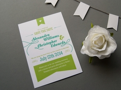 bunte rustikale save-the-date-karte