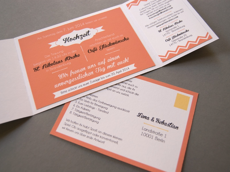 coral red wedding invitation set