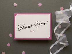 elegant calligraphic wedding thank you card