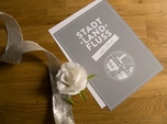 gray and white custom wedding invitation