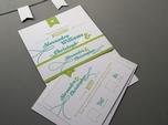 kreative bunte hochzeits-rsvp-karte