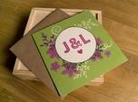 maßgefertigte lila grün hochzeits-einladungskarte