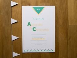 Unique modern wedding invite with geometric design