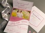 romantic pink custom wedding invitation