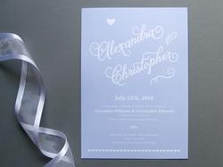 romantic script wedding invitation