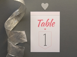Sweet charming wedding table number