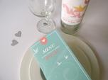 teal and pink custom wedding menu