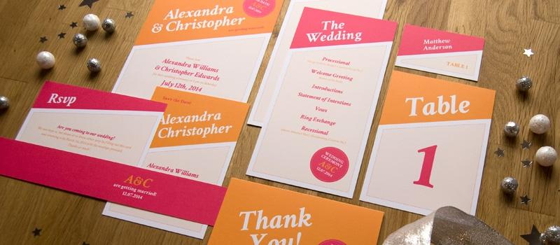Bunte moderne Hochzeits-Papeterie