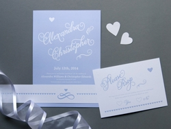 Romantic calligraphy wedding invitations and rsvp