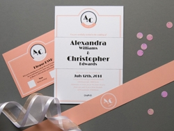 Vintage jazz age wedding invitation and rsvp card